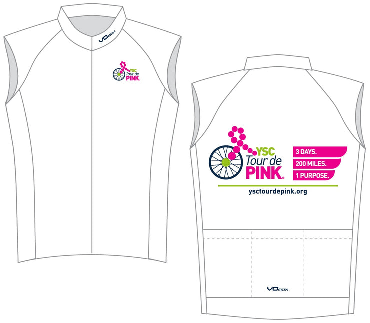 YSC Tour de Pink Sleeveless Cycling Jersey-White