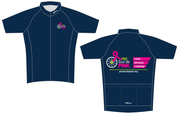 YSC Tour de Pink Short Sleeve Cycling Jersey-Blue