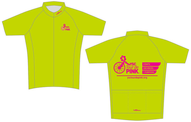 YSC Tour de Pink Short Sleeve Cycling Jersey-Lime Green