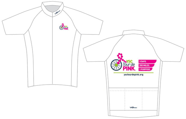 YSC Tour de Pink Short Sleeve Cycling Jersey-White