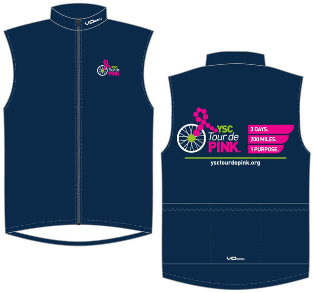 YSC Tour de Pink Unlined Wind Vest-Blue
