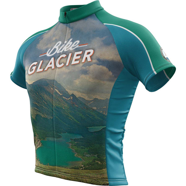 Glacier National Park + Mens Short Sleeve REC Cycling Jersey