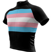 "Transgender Pride + Masculine ""Straight Cut"" Fit Short Sleeve REC Cycling Jersey"