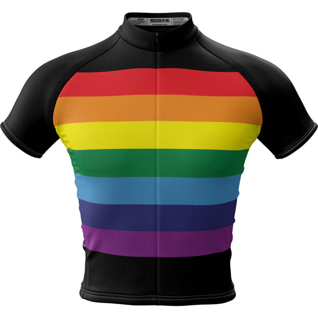 Unity Rainbow Black + Mens Short Sleeve REC Cycling Jersey