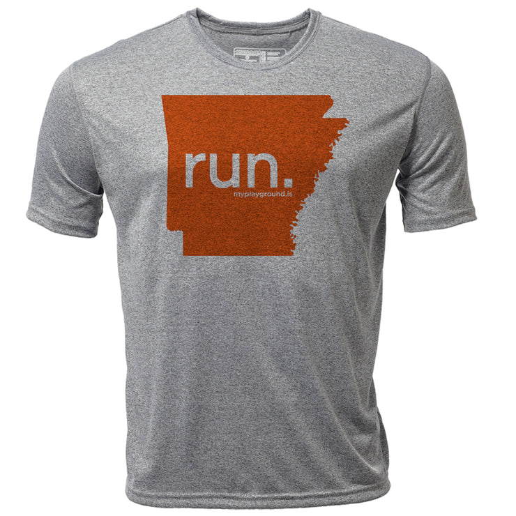 run. Arkansas + Mens SS Hybrid T