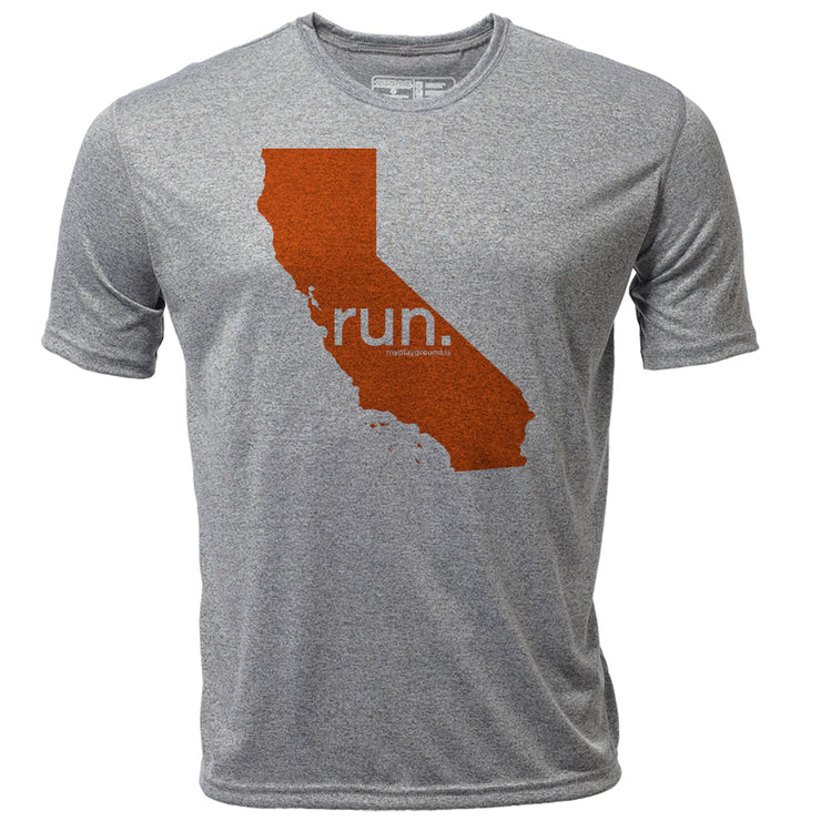 run. California + Mens SS Hybrid T