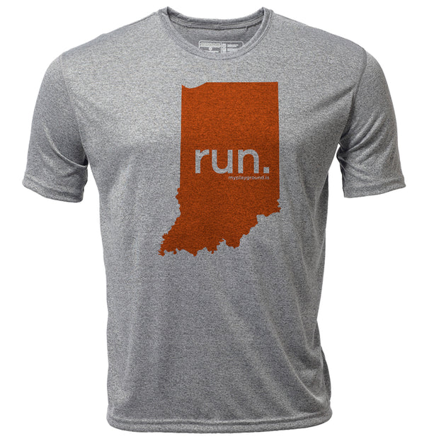 run. Indiana + Mens SS Hybrid T