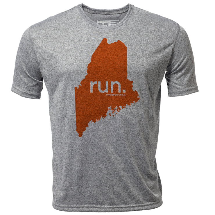 run. Maine + Mens SS Hybrid T