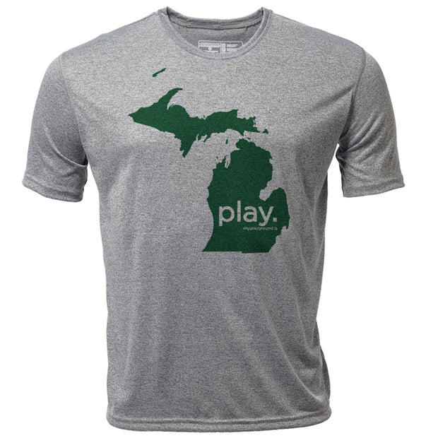 play. Michigan + Mens SS Hybrid T