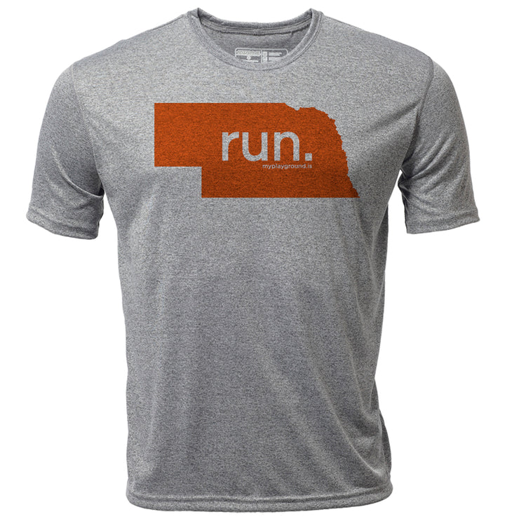 run. Nebraska + Mens SS Hybrid T
