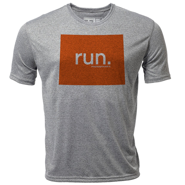 run. Wyoming + Mens SS Hybrid T