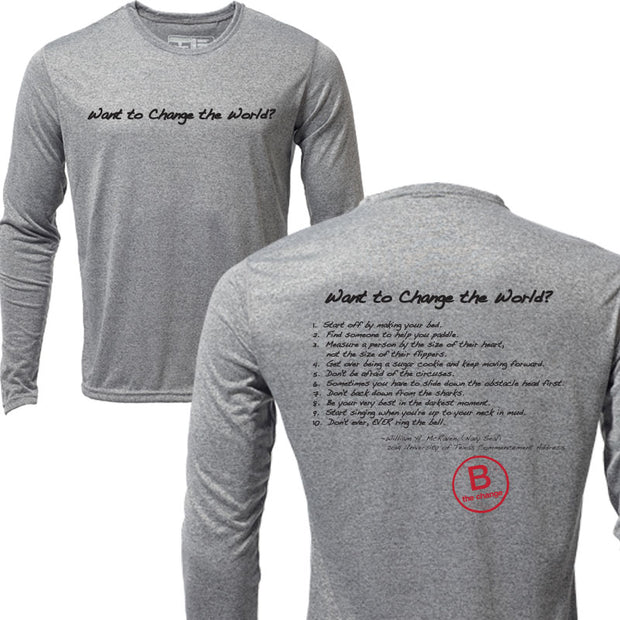 Want to Change the World + Mens Long Sleeve Hybrid T