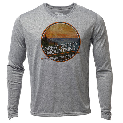 Great Smoky Mountains + Mens LS Hybrid T