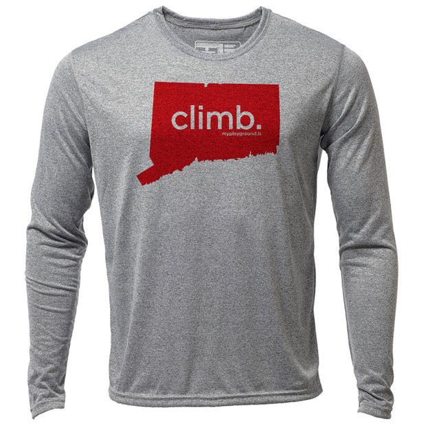 climb. Connecticut + Mens LS Hybrid T
