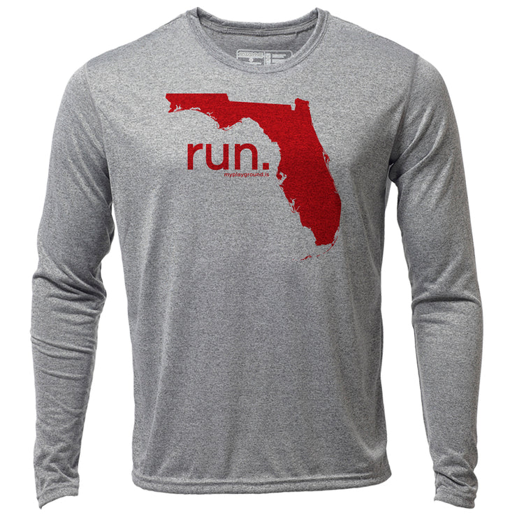 run. Florida + Mens LS Hybrid T