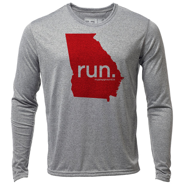 run. Georgia + Mens LS Hybrid T