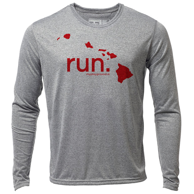 run. Hawaii + Mens LS Hybrid T