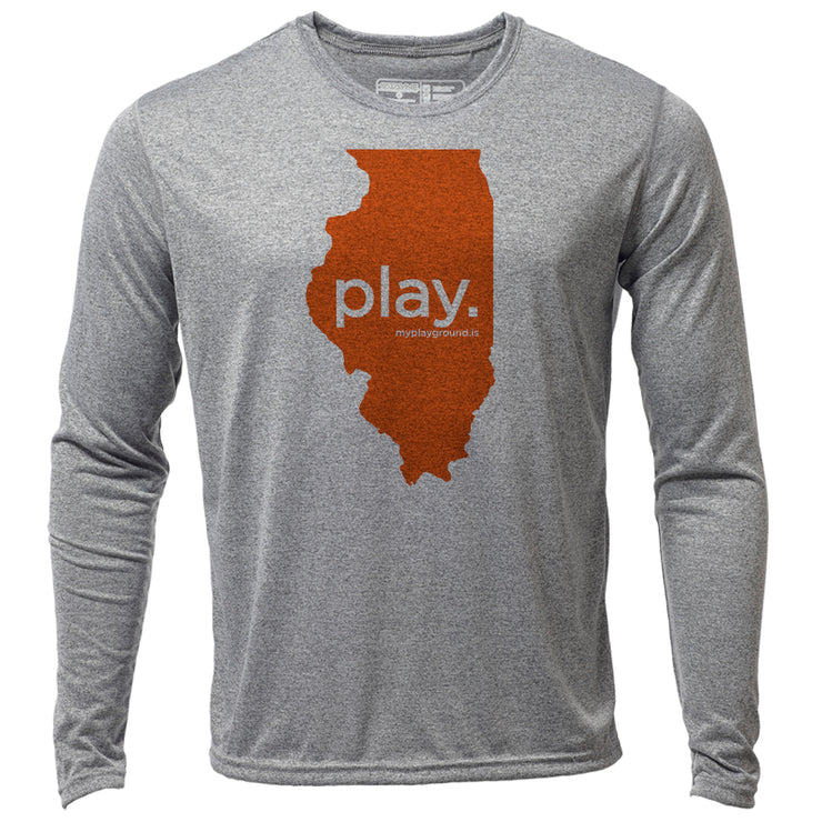 play. Illinois + Mens LS Hybrid T