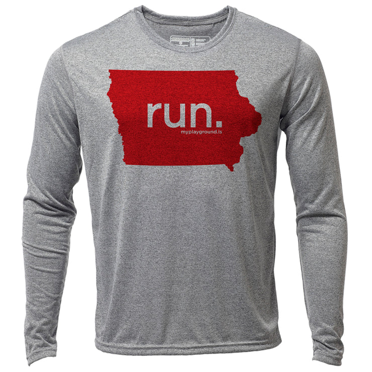 run. Iowa + Mens LS Hybrid T
