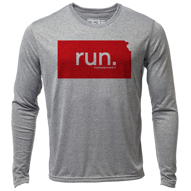 run. Kansas + Mens LS Hybrid T