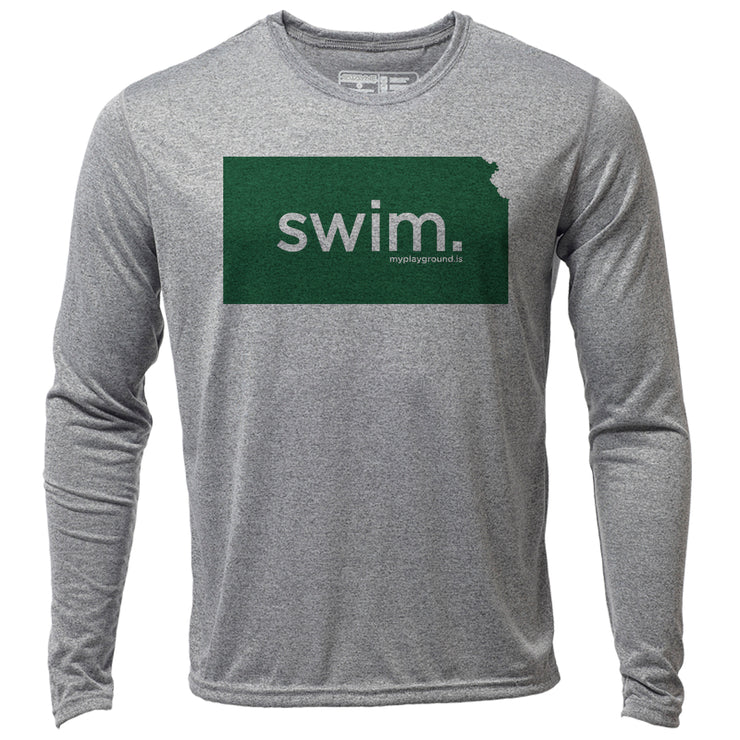 swim. Kansas + Mens LS Hybrid T