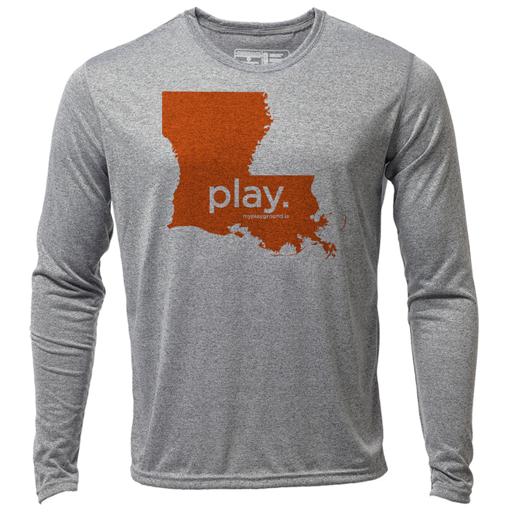 play. Louisiana + Mens LS Hybrid T