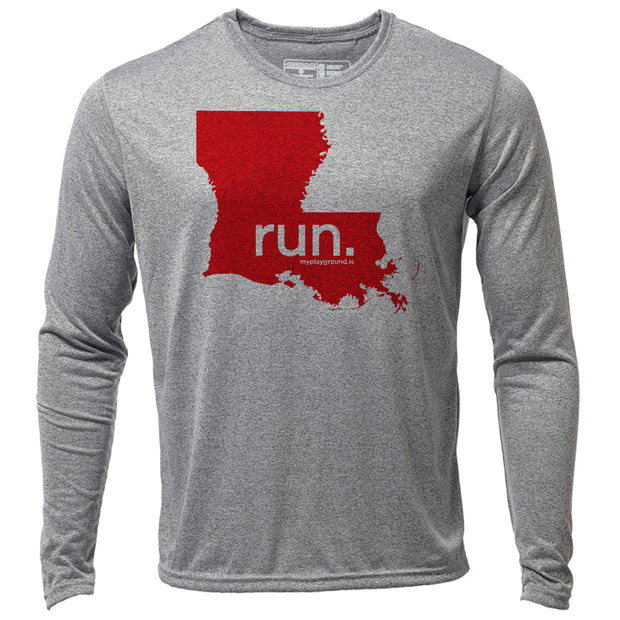 run. Louisiana + Mens LS Hybrid T