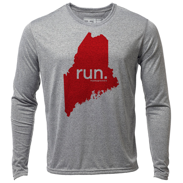 run. Maine + Mens LS Hybrid T