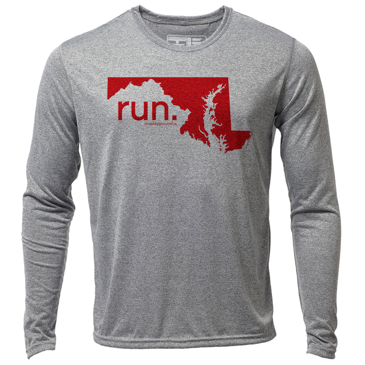 run. Maryland + Mens LS Hybrid T