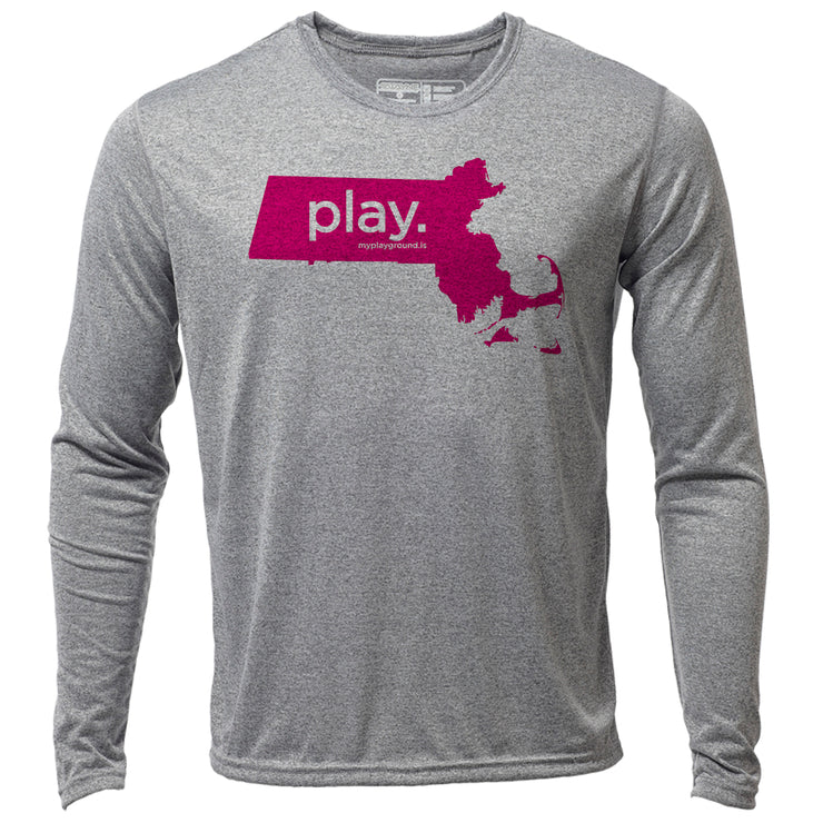 play. Massachusetts + Mens LS Hybrid T