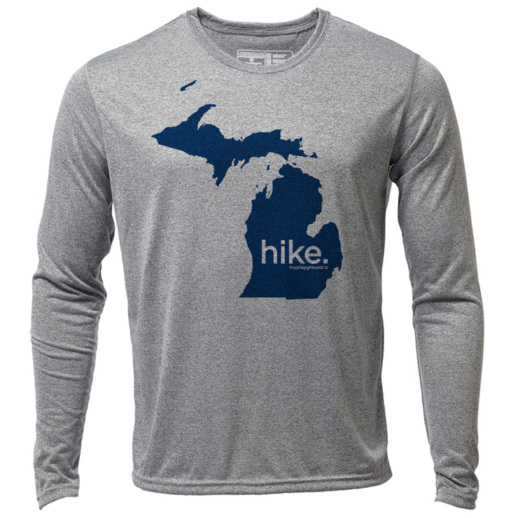 hike. Michigan + Mens LS Hybrid T