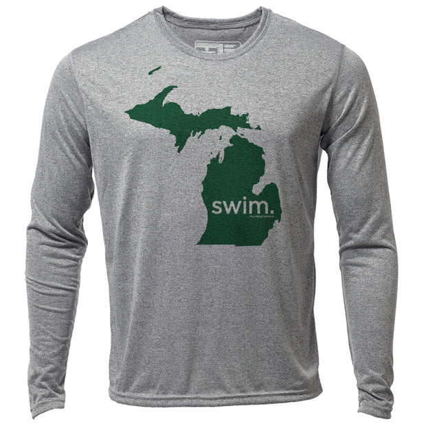 swim. Michigan + Mens LS Hybrid T