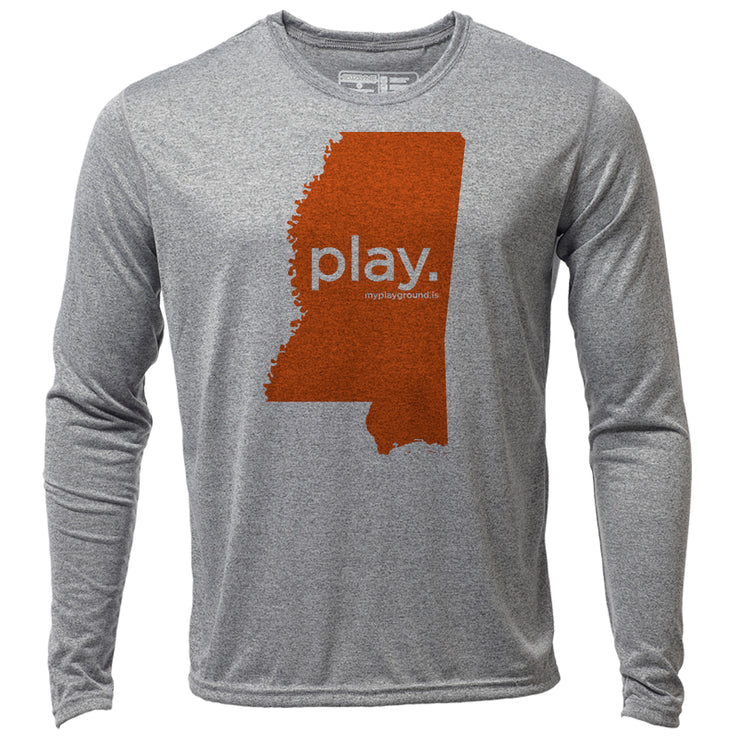 play. Mississippi + Mens LS Hybrid T