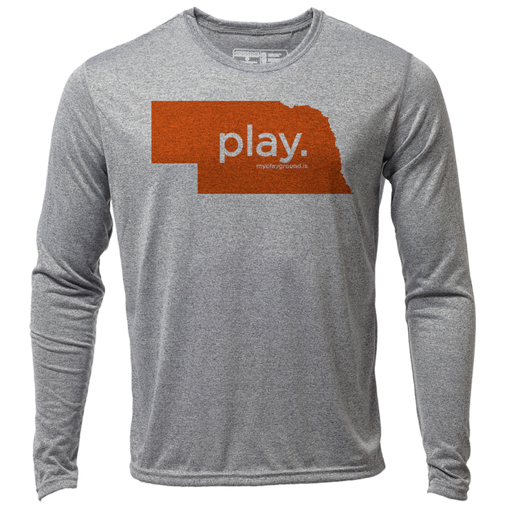 play. Nebraska + Mens LS Hybrid T