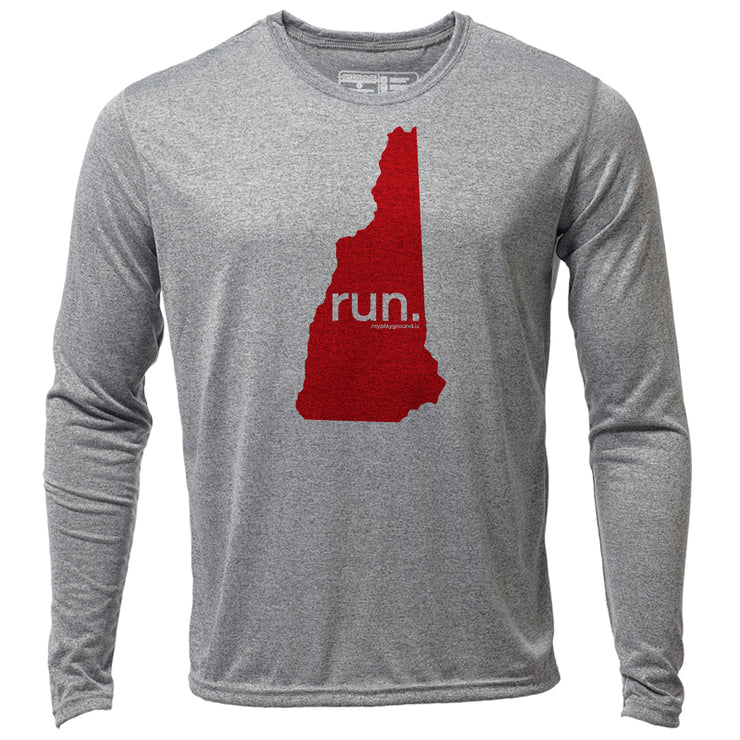 run. New Hampshire + Mens LS Hybrid T