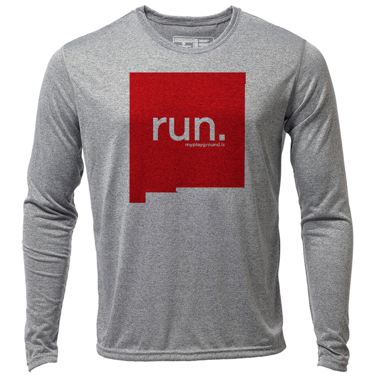 run. New Mexico + Mens LS Hybrid T