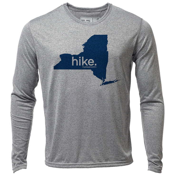 hike. New York + Mens LS Hybrid T