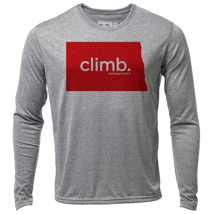 climb. North Dakota + Mens LS Hybrid T