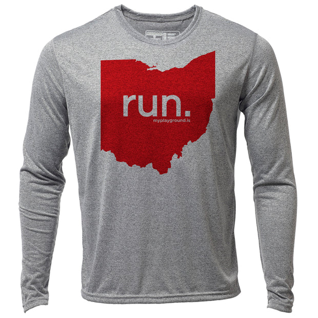 run. Ohio + Mens LS Hybrid T