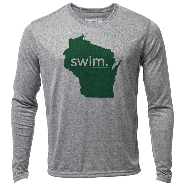 swim. Wisconsin + Mens LS Hybrid T