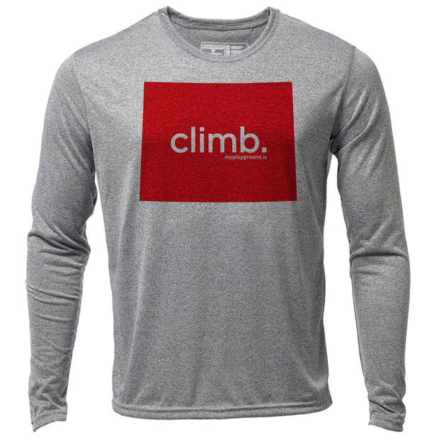 climb. Wyoming + Mens LS Hybrid T