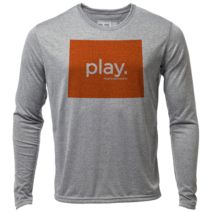 play. Wyoming + Mens LS Hybrid T