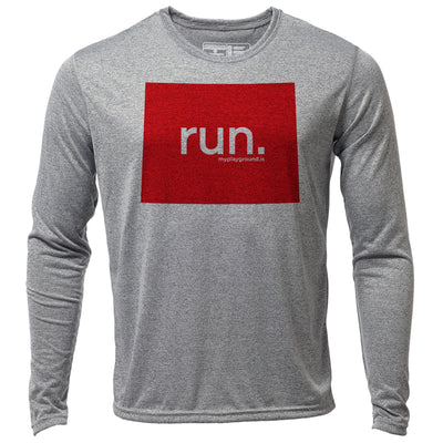 run. Wyoming + Mens LS Hybrid T