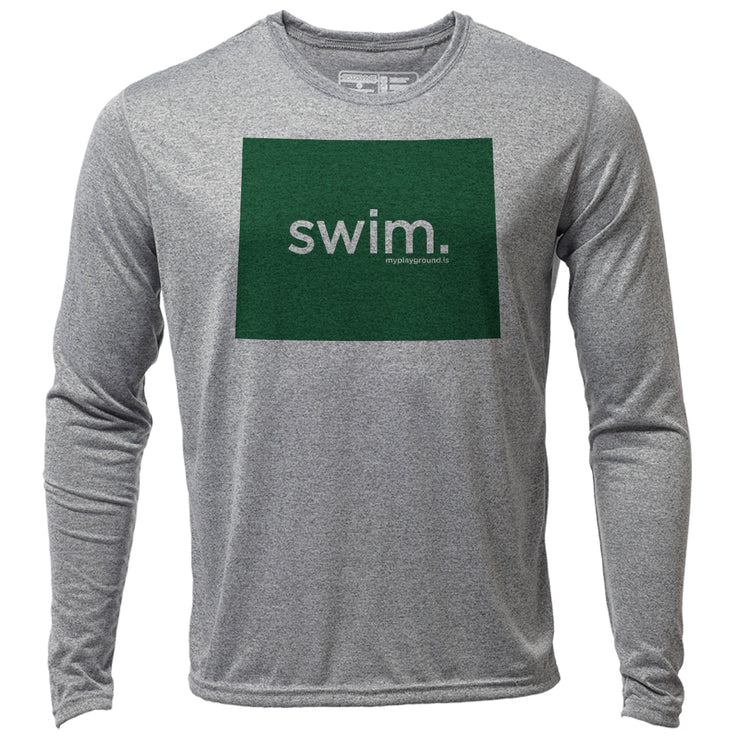 swim. Wyoming + Mens LS Hybrid T