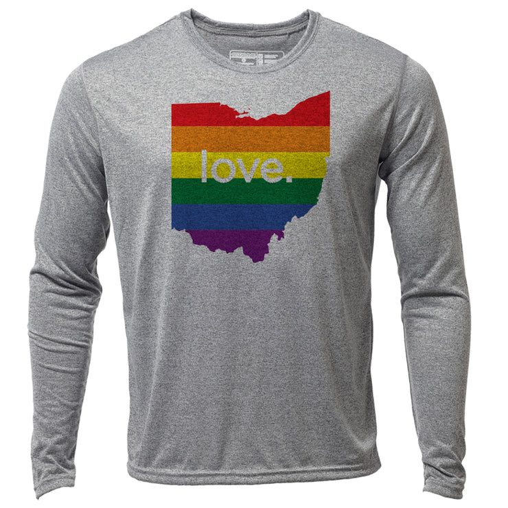 love. Ohio + Mens LS Hybrid T