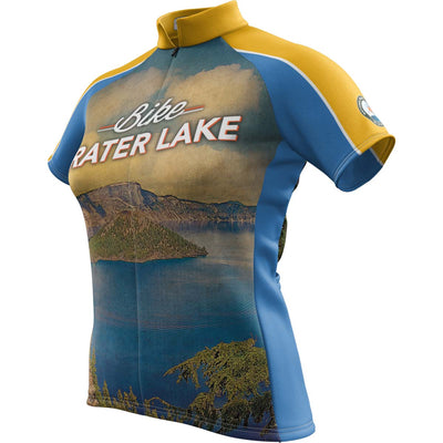 Crater Lake National Park + Womens Short Sleeve REC Cycling Jersey
