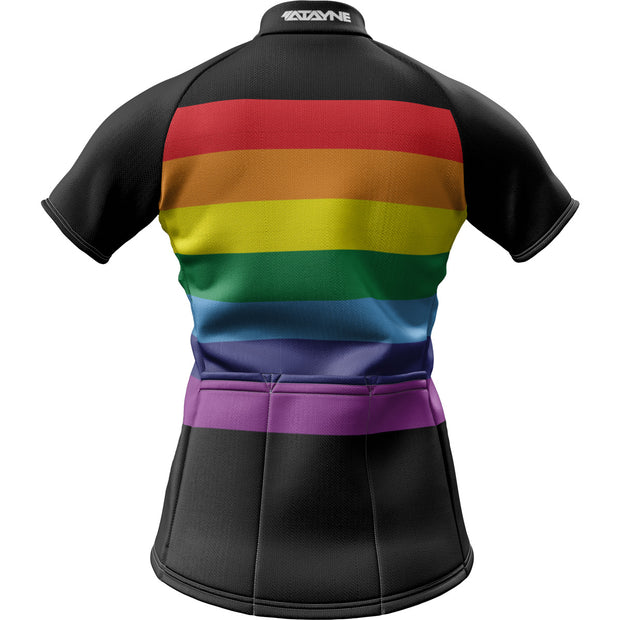 Unity Rainbow Black + Womens Short Sleeve REC Cycling Jersey