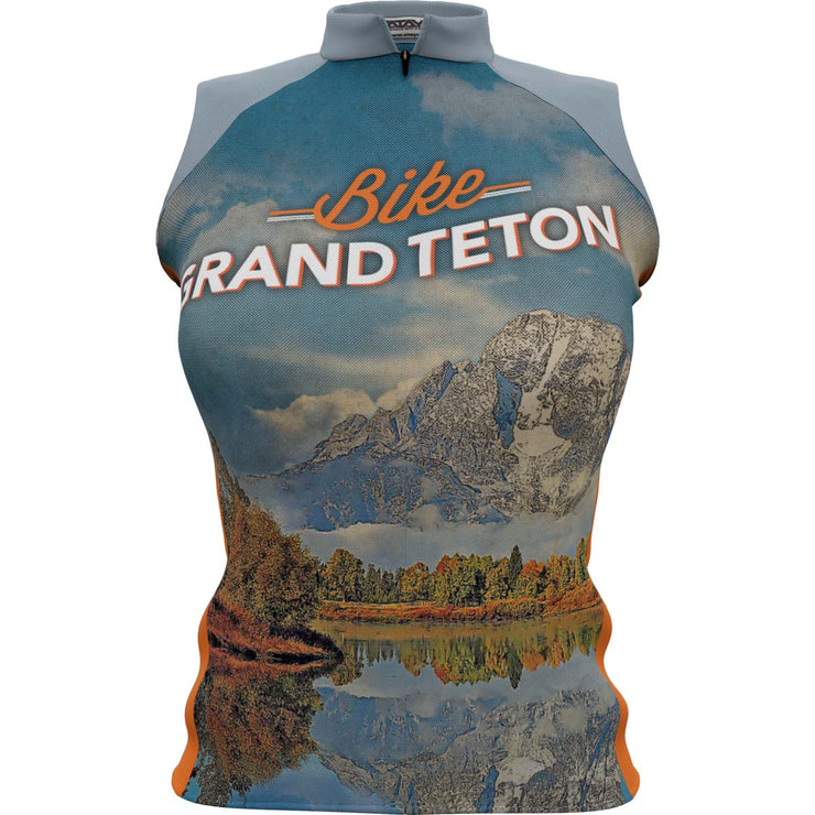 Grand Teton National Park + Womens Sleeveless REC Cycling Jersey