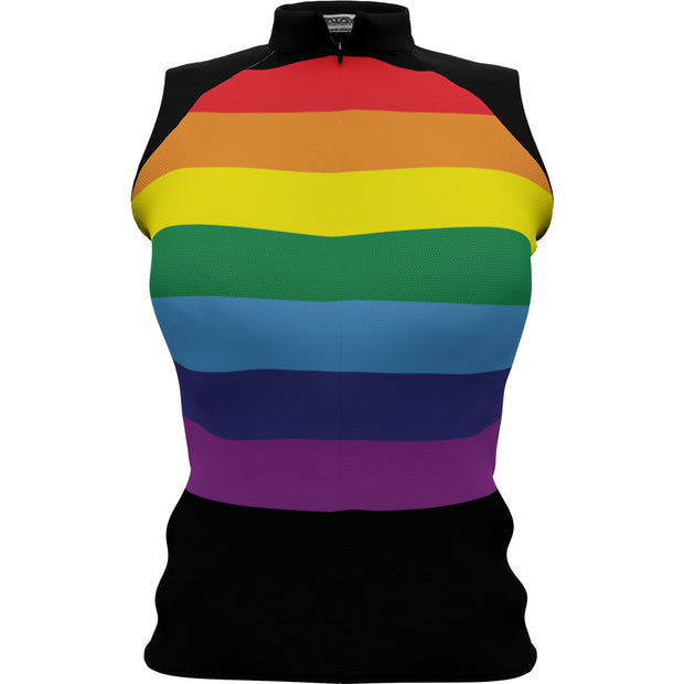 Unity Rainbow Black + Womens Sleeveless REC Cycling Jersey