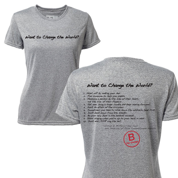 Want to Change the World + Womens Short Sleeve Hybrid T